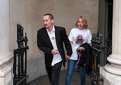© Licensed to London News Pictures. 04/08/2015. Bristol, UK.  Friends and family wearing badges and t-shirts of murder victim Becky Watts leave Bristol Crown Court after a preliminary hearing in the case.  Photo credit : Simon Chapman/LNP
