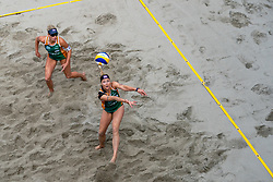 Madelein Meppelink, Sanne Keizer in action during the third day of the beach volleyball event King of the Court at Jaarbeursplein on September 11, 2020 in Utrecht.