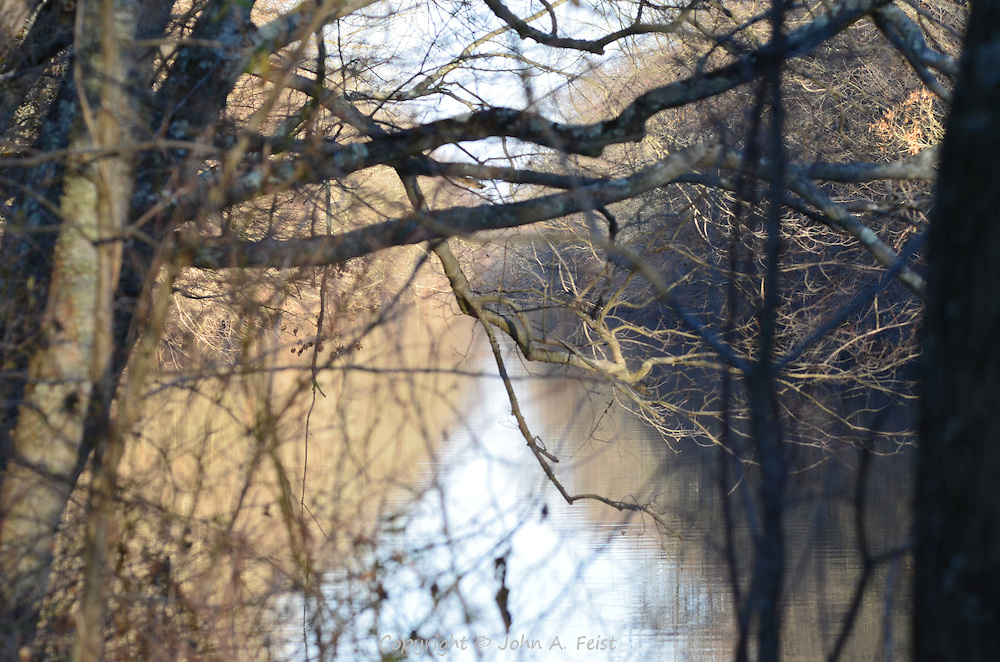 Looking out across the D and R Canal in Hillsborough, NJ late on a winter afternoon