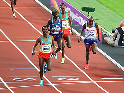 London, August 12 2017 . Muktar Edris, Ethiopia, wins ahead of Mo Farah, Great Britain, and Paul Kipkemoi Chelimo, USA, in the men's 5000m final on day nine of the IAAF London 2017 world Championships at the London Stadium. © Paul Davey.