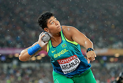 Brazil's Geisa Arcanjo in action in the Women's Shot Put during day six of the 2017 IAAF World Championships at the London Stadium. PRESS ASSOCIATION Photo. Picture date: Wednesday August 9, 2017. See PA story ATHLETICS World. Photo credit should read: Adam Davy/PA Wire. RESTRICTIONS: Editorial use only. No transmission of sound or moving images and no video simulation