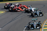 HAMILTON lewis (gbr) mercedes gp mgp w06 action<br /> ROSBERG nico (ger) mercedes gp mgp w06 action _ start - départ during 2015 Formula 1 championship at Melbourne, Australia Grand Prix, from March 13th to 15th. Photo DPPI / Eric Vargiolu.