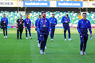 The Northern Ireland team on the pitch ahead of the UEFA European 2020 Qualifier match between Northern Ireland and Germany at National Football Stadium, Windsor Park, Northern Ireland on 9 September 2019.