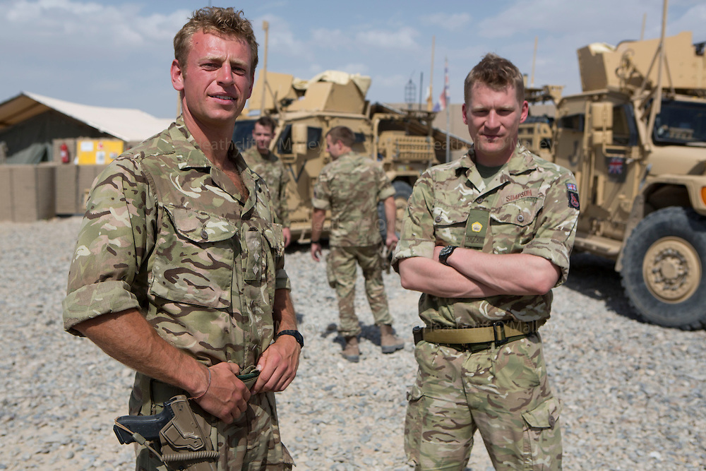 Mcc0053988 . Daily Telegraph<br /> <br /> DT News<br /> <br /> Captain Ed Challis 2IC and Major Guy Simpson OC at Sterga II Observation Post, the last remaining British military base outside of Camp Bastion .<br /> <br /> Helmand 31 March 2014