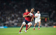 Twickenham, England.  France's Sofiane GUITOUNE, ball in hand, during the QBE International. England vs France [World cup warm up match]  Saturday.  15.08.2015,  [Mandatory Credit. Peter SPURRIER/Intersport Images].