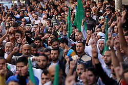 November 18, 2016 - Jabalia, Gaza Strip, Palestinian Territory - Palestinian Hamas supporters take part during a protest against a controversial Israeli bill to limit the volume of calls to prayer at mosques in the occupied Jerusalem, in Jabalia in the northern Gaza Strip, on Nov. 18, 2016. Israeli Prime Minister Benjamin Netanyahu said he backed a bill limiting the volume of calls to prayer from mosques, a proposal government watchdogs have called a threat to religious freedom  (Credit Image: © Mohammed Asad/APA Images via ZUMA Wire)