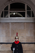 A soldier from the Household Cavalry stands Gurad at Horseguards in Whitehall, London, UK. Friday January 5th 2018