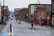 National coronavirus lockdown three begins on Bradford Street in Birmingham city centre, which is deserted apart from a few people on 6th January 2021 in Birmingham, United Kingdom. Following the recent surge in cases including the new variant of Covid-19, this nationwide lockdown, which is an effective Tier Five, came into operation today, with all citizens to follow the message to stay at home, protect the NHS and save lives.