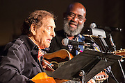 """Oscar Brand, considered a founding father of the American folk music revival, takes the stage with Josh White, Jr. Brand is now 93, and still hosts the radio show """"Folksong Festival."""""""