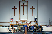 Democratic presidential candidate Hillary Rodham Clinton during the Breaking Down Barriers Forum on gun violence at Central Baptist Church February 23, 2016 in Columbia, South Carolina. The event was attended by mothers who lost their children to gun violence and police incidents.