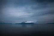 SAKURAJIMA VOLCANO, JAPAN, Erruption of the Sakura Jima view from Kirishima, the end of the Kagoshima bay. This volcano is active and errupted [FR]  Vue sur le volcan Sakurajima depuis le fond de la baie à Kagoshima. lumière de crépuscule.