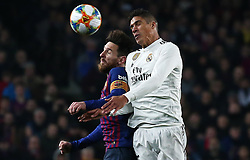 February 6, 2019 - Barcelona, Spain - Raphael Varane and Leo Messi during the match between FC Barcelona and Real Madrid corresponding to the first leg of the 1/2 final of the spanish cup, played at the Camp Nou Stadium, on 06th February 2019, in Barcelona, Spain. (Credit Image: © Joan Valls/NurPhoto via ZUMA Press)