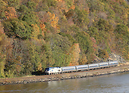 Cortlandt, NY - An Amtrak passenger train heads north on the railroad tracks by the Hudson River on Nov. 2, 2008.