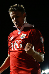 Matt Smith of Bristol City celebrates scoring a goal to make it 1-0 (5-2 on aggregate) - Photo mandatory by-line: Rogan Thomson/JMP - 07966 386802 - 29/01/2015 - SPORT - FOOTBALL - Bristol, England - Ashton Gate Stadium - Bristol City v Gillingham - Johnstone's Paint Trophy Southern Area Final Second Leg.