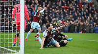 Football - 2017 / 2018 Premier League - Burnley vs. Arsenal<br /> <br /> Ashley Barnes of Burnley appeals that he has been pushed by Nacho Montreal of Arsenal at Turf Moor.<br /> <br /> COLORSPORT/LYNNE CAMERON