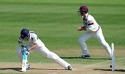 Dejection for Middlesex's Nick Gubbins as he is bowled by Somerset's Abdur Rehman- Photo mandatory by-line: Harry Trump/JMP - Mobile: 07966 386802 - 29/04/15 - SPORT - CRICKET - LVCC Division One - County Championship - Somerset v Middlesex - Day 4 - The County Ground, Taunton, England.