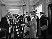 Nancy Reagan .Visits the Royal College Of Surgeons..St Stephens Green,.1984..04.06.1984.06.04.1984.4th June 1984..Nancy Reagan visited the Royal College of Surgeons where she unveilled a portrait of her late father.Her father, Dr Loyal Davis was an Honorary Fellow of the college. Mrs Reagan then presented the portrait to the college..Image of Mrs Nancy Reagan as she is wecomed to the Royal College Of Surgeons as she is welcomed by Professor Eoin O'Malley,president of the college.