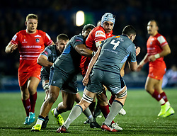 Tomas Lavanini of Leicester Tigers under pressure from Nick Williams of Cardiff Blues<br /> <br /> Photographer Simon King/Replay Images<br /> <br /> European Rugby Challenge Cup Round 2 - Cardiff Blues v Leicester Tigers - Saturday 23rd November 2019 - Cardiff Arms Park - Cardiff<br /> <br /> World Copyright © Replay Images . All rights reserved. info@replayimages.co.uk - http://replayimages.co.uk