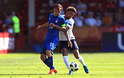 England U17's Dyland Crowe (right) and Italy U17's Alessio Riccardi battle for the ball during the UEFA European U17 Championship, Group A match at Banks's Stadium, Walsall.