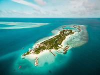 Aerial view of amazing bungalow resort, Maldives island.
