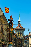 Zahringen Fountain (Zahringerbrunnen) with the Clock Tower (Zytglogge) in the background, Bern, Canton Bern, Switzerland