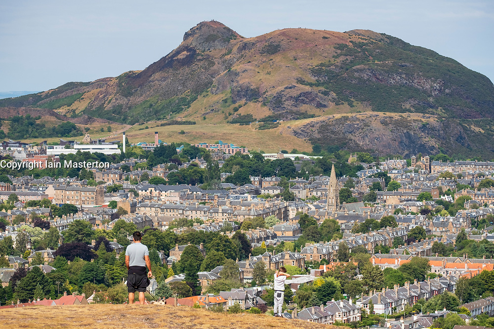 View of Arthur's Seat hill from Blackford Hill , Edinburgh, Scotland, UK