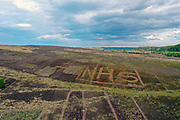 #NHS carved into the North York Moors moorland in support of NHS workers during the Coronavirus pandemic on 8th May 2020 in North Yorkshire, United Kingdom.