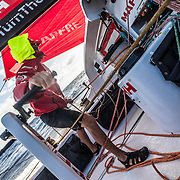 Leg 4, Melbourne to Hong Kong, day 17 on board MAPFRE, Blair Tuke trimming. Photo by Ugo Fonolla/Volvo Ocean Race. 18 January, 2018.
