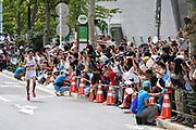 Yuta Shitara leads the men's race during the Marathon Grand Championship, Sunday Sept. 15 2019, in Tokyo. Shitara placed 14th in 2:16:09. (Agence SHOT/Image of Sport)