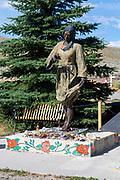 Images of Sacajawea's Memorial site at Sacajawea Cemetery, Fort Washakie, Wyoming, USA.
