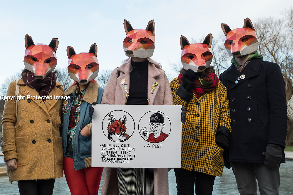 Edinburgh, Scotland, United Kingdom. 7 December, 2017. Scottish Green MSP Alison Johnston joined with animal welfare campaigners at the Scottish Parliament at Holyrood to support her member's bill to ban fox hunting in Scotland.