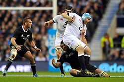Ben Morgan (England) takes on the New Zealand defence - Photo mandatory by-line: Patrick Khachfe/JMP - Tel: Mobile: 07966 386802 16/11/2013 - SPORT - RUGBY UNION -  Twickenham Stadium, London - England v New Zealand - QBE Autumn Internationals.