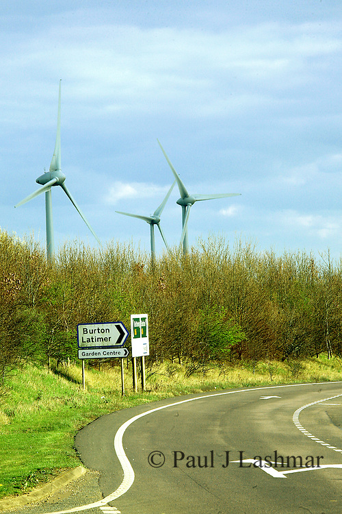 A wind farm of 10 units in fields off the A6 near Burton Latimer, Kettering, Northamptonshire