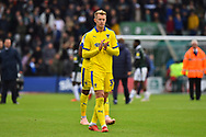 Joe Pigott (39) of AFC Wimbledon applauds the travelling fans at full time after a 1-0 loss during the EFL Sky Bet League 1 match between Plymouth Argyle and AFC Wimbledon at Home Park, Plymouth, England on 6 October 2018.