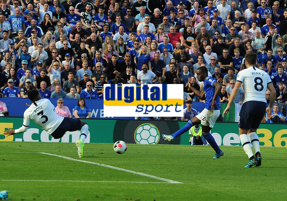 Football - 2019 / 2020 Premier League - Leicester City vs. Tottenham Hotspur<br /> <br /> Ricardo Pereira of Leicester shoots past Danny Rose for goal no 1, at The King Power Stadium.<br /> <br /> COLORSPORT/ANDREW COWIE