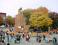 Central Square Jack o Lantern tower at Keene Pumpkin Festival.