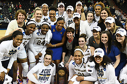 March 26, 2018 - Spokane, WA, U.S. - SPOKANE, WA - MARCH 26: the Notre Dame team poses with the Regional trophy after the game between the Oregon Ducks and the Notre Dame Fighting Irish played on March 26, 2018 at the Veterans Memorial Arena in Spokane, WA.. (Photo by Robert Johnson/Icon Sportswire) (Credit Image: © Robert Johnson/Icon SMI via ZUMA Press)