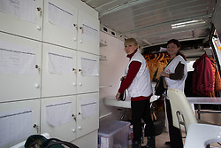 Nurse Ania Sharaya (l) and doctor Victoria Pogorelova run an MSF mobile clinic from the back of a converted transit van  that makes weekly visits to the town of Debaltsevo in eastern Ukraine.