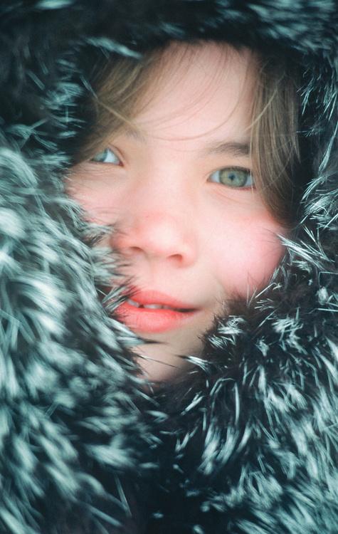 Alaska. Barrow. Eskimo girl in parka, Aidrianna Aikens.