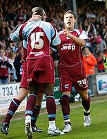 Photo: Steve Bond.<br />Scunthorpe United v Carlisle United. Coca Cola League 1. 05/05/2007. Cleveland Taylor (15) celebrates his goal