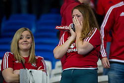 CARDIFF, WALES - Monday, October 9, 2017: Wales' supporters look dejected after the final whistle in the 2018 FIFA World Cup Qualifying Group D match between Wales and Republic of Ireland at the Cardiff City Stadium. (Pic by Paul Greenwood/Propaganda)