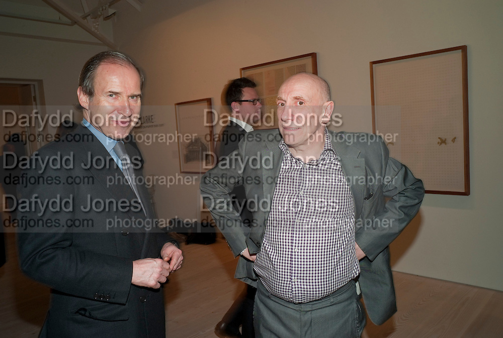 SIMON DE PURY; BRIAN CLARKE, Brian Clarke: Works On Paper - private view. Saatchi Gallery, Duke Of York's HQ, Sloane Square, London1 March 2011. -DO NOT ARCHIVE-© Copyright Photograph by Dafydd Jones. 248 Clapham Rd. London SW9 0PZ. Tel 0207 820 0771. www.dafjones.com.