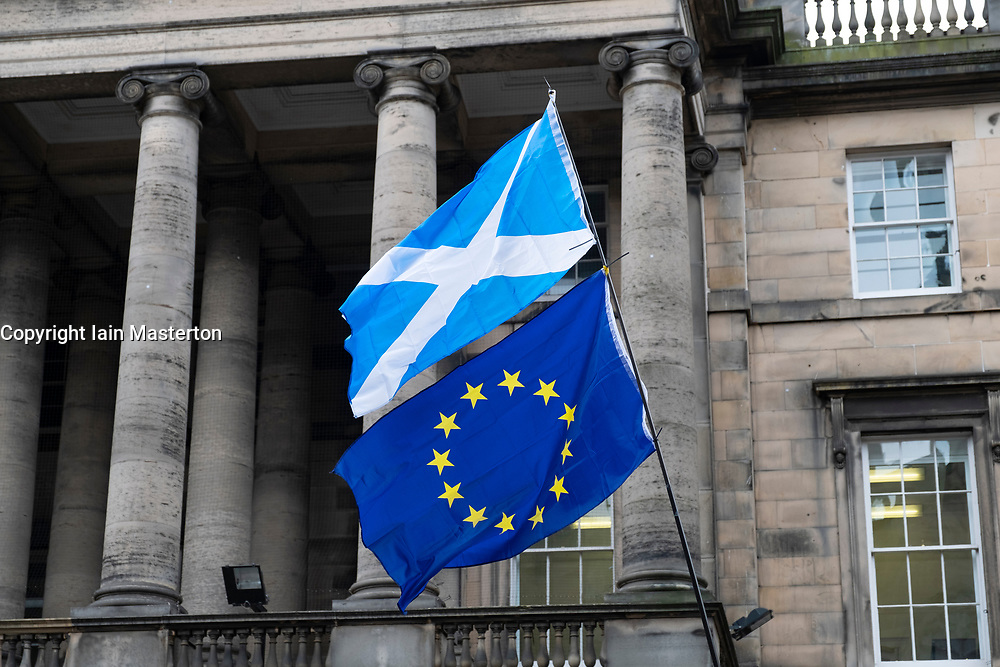 Edinburgh, Scotland, UK. 3 September, 2019. Pro-Europe and anti-Brexit protestors outside the Court of Session in Parliament Square, Edinburgh. The protestors are demanding the withdrawal of the threat to prorogue Parliament. Scotland's most senior law officer, James Wolffe, the Lord Advocate, has accused the UK government of abusing its power to force through Brexit as he tries to intervene in two court challenges to the suspension of parliament.<br /> He has applied to intervene in a hearing today at the Court of Session in Edinburgh, brought by a cross-party group of 75 parliamentarians, and an action at the High Court in London.