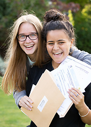 © Licensed to London News Pictures. 22/08/2019. Solihull, West Midlands UK. Solihull School GCSE results. Bethan Bown, left and Hanaan (correct) Welch who achieved 20 Grade nines between them. Photo credit: Dave Warren/LNP