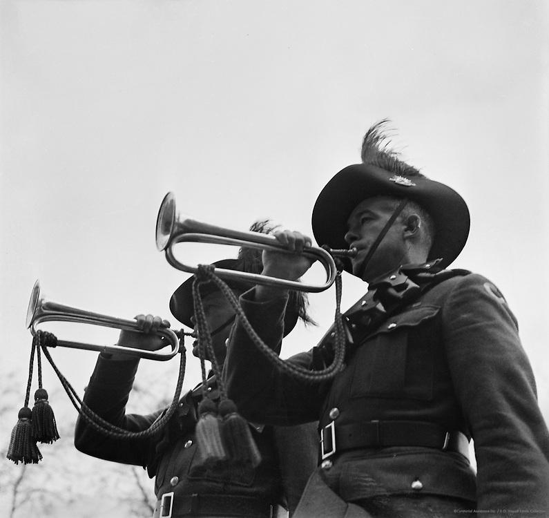 Reveille at Wellington Barracks, London, England, 1937