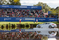 27.09.2015, Beckenbauer Golf Course, Bad Griesbach, GER, PGA European Tour, Porsche European Open, im Bild Benjamin Hebert (FRA) schlägt auf das 18. Loch, Uebersicht // Benjamin Hebert (FRA) on Hole 18, Overview during the European Tour, Porsche European Open Golf Tournament at the Beckenbauer Golf Course in Bad Griesbach, Germany on 2015/09/27. EXPA Pictures © 2015, PhotoCredit: EXPA/ JFK