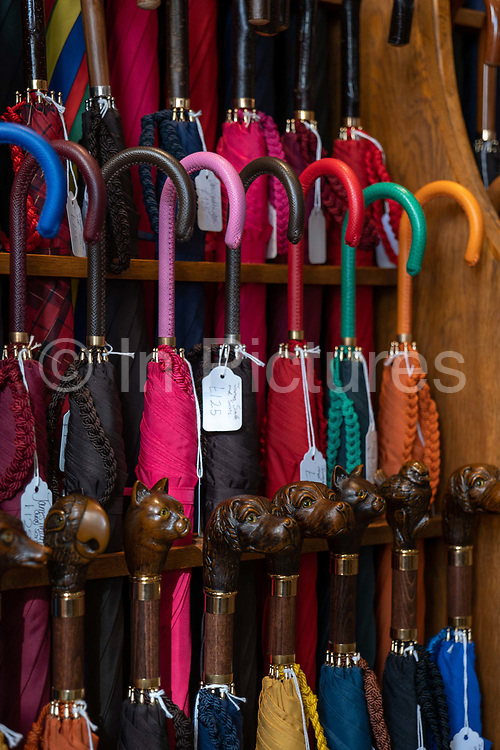 A selection of animal themed wooden handled umbrellas for sale at James Smith & Sons family ran umbrella shop on New Oxford Street on the 27th September 2019 in London in the United Kingdom