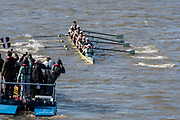 Putney, Great Britain, 17th March 2019, CUBC .bow side get away with some splashy stroke  at the start  Pre Boat Race Fixture, Oxford University Boat Club vs Oxford Brookes, Championship Course, River Thames,   England, [Mandatory Credit; Peter Spurrier/Intersport-images],