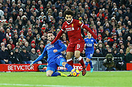 Christian Fuchs of Leicester City looks too tackle Mohamed Salah of Liverpool. Premier League match, Liverpool v Leicester City at the Anfield stadium in Liverpool, Merseyside on Saturday 30th December 2017.<br /> pic by Chris Stading, Andrew Orchard sports photography.