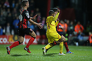 Liverpool striker Raheem Sterling scores his second during the Capital One Cup match between Bournemouth and Liverpool at the Goldsands Stadium, Bournemouth, England on 17 December 2014.